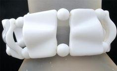 Vintage Miriam Haskell White Bracelet Poured Milk Glass Bead Signed Estate Piece | eBay