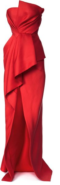 J Mendel ~ Silk and Wool Gazaar Strapless Bustier Gown