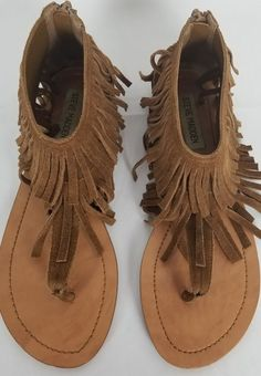 Excellent Preowned Almost New Leather Fringe, Suede Leather, Flat Sandals, Steve Madden, Boho, Ebay, Shoes, Women, Fashion