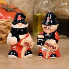Boston Red Sox Gnome Salt & Pepper Shakers by Hall of Fame Memorabilia. $28.95. These gnome salt and pepper shakers are perfect for tailgating, collecting, or everyday use in your home. Each gnome shaker measures 4'' in height and is holding a sign to show which is salt and pepper. Features hand painted ceramic with team logo and colors complete in a pre-packaged case. Officially licensed.