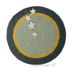 tapis rond antidérapant, gris clair, jaune, gris foncé,