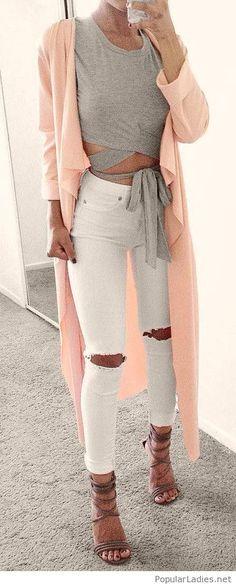 Nice grey top design, white pants and nude cardi