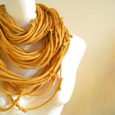 Honey Gold Infinity Scarf Mustard Yellow Autumn Fashion Scarf. $50.00, via Etsy.