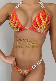 Fuego y naranja competencia Spandex Bikini traje de Fitness