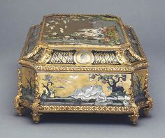 Casket wood veneered with brass, copper, silver and mother of pearl with painted detail; c.1730 #antique #vintage #box