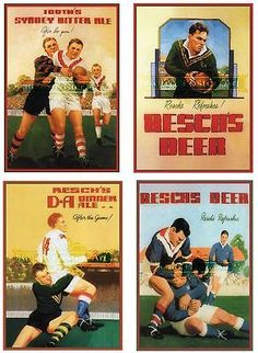 4 set of Retro Reschs/Tooths rugby prints. Rugby Poster, Beer Poster, Poster Ads, Poster Prints, Vintage Advertisements, Vintage Ads, Vintage Posters, Vintage Signs, Australian Beer