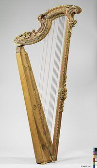 Harp from the collection of Geneviève Thibault de Chambure. 32 strings, missing pedals. France, 18th century.