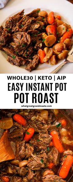 This hearty and flavorful Whole30 and keto Instant Pot pot roast is an easy and delicious recipe for the whole family. Made low carb using radishes and can easily be made AIP as well! #paleo #whole30 #keto #aip #autoimmuneprotocol #lowcarb #instantpot #pressurecooker Instant Pot Pot Roast, Gluten Free Dinner, Dairy Free Recipes, Soul Food, Entrees, Paleo, Low Carb, Yummy Food, Nutrition