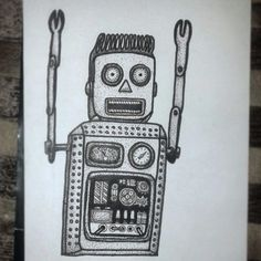 VVB - Branding & Illustration - Electric Man / Robot - Pointilism - Drawing / Sketch