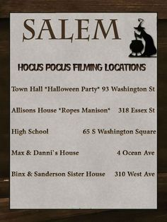Hocus Pocus Filming Locations Salem MA I cant wait to share this experience with you in mere days! Vacation Places, Dream Vacations, Vacation Spots, Places To Travel, Boston Vacation, Salem Halloween, Halloween Signs, Halloween Stuff, Halloween Makeup