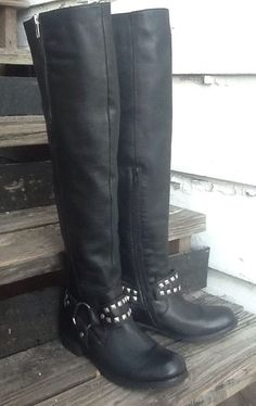 Miz Mooz MILLER Motorcycle Over Knee Tall Black Leather Boots 7 37.5 in Clothing, Shoes & Accessories, Women's Shoes, Boots | eBay