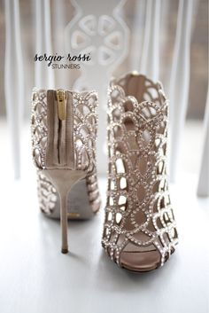 Best of 2013 - Best Bridal Shoes by Sergio Rossi (Looks a lot like my wedding shoes) I have these in Black ( Im in LOVE! Zapatos Shoes, Women's Shoes, Me Too Shoes, Shoe Boots, Rossi Shoes, Ankle Boots, Ugg Boots, Bling Shoes, High Shoes
