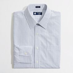 Factory thompson point-collar dress shirt in tattersall