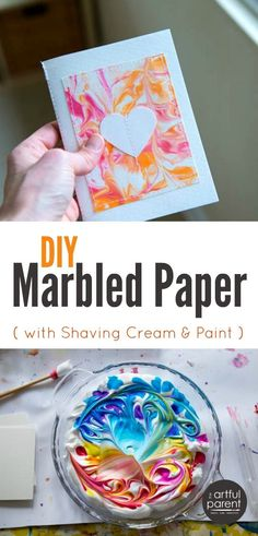 The best, easiest, and cheapest DIY marbled paper is done with shaving cream marbling. This is one of our all-time favorite art activities.