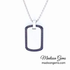 Men's Stainless Steel Necklace, Greek Key Dog Tag Pendant.  www.madisongems.com