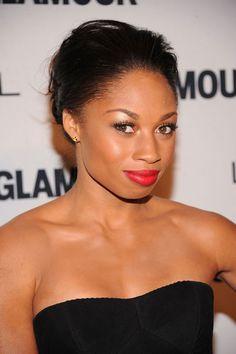 Allyson Felix- red lip, shimmery eyeshadow