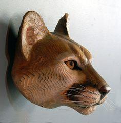 Sculpture sur bois Mountain Lion masque Jason par jasontennant