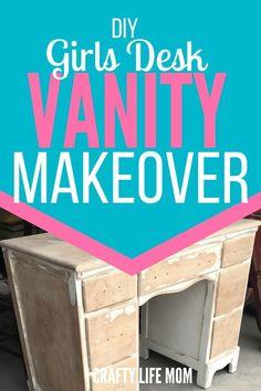 Girls Vanity Desk DIY Makeover using an old desk, paint and hardware desk Makeover Little Girls Vanity Diy, Diy For Girls, Vanity Desk, Diy Vanity, Annie Sloan, Painted Vanity, Old Desks, Retro Furniture, Furniture Market