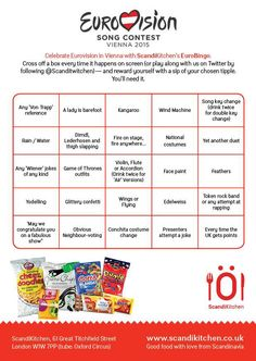 scandi kitchen eurovision bingo
