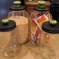 My other set of DIY pickle jar and canning jar canisters with green glass drawer pull knobs.