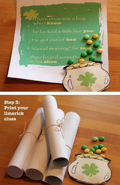 Patrick& Day Limerick Hunt - includes 4 printable pages to hide around the house as well as a printable pot of gold to fill with goodies! St Pattys, St Patricks Day, Saint Patricks, Holiday Crafts, Holiday Fun, Christmas Themes, Holiday Ideas, Activities For Kids, Crafts For Kids