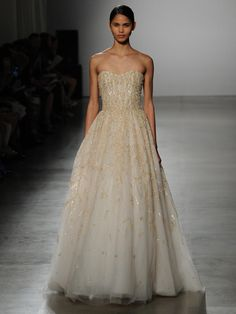 Amsale strapless gold beaded ball gown wedding dress with beaded shimmer underlay from Spring 2016