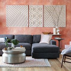 Whitewashed Wood Wall Art - Overlapping Lines