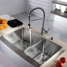 Kraus 36 Inch Farmhouse Double Bowl Stainless Steel (Silver) Kitchen Sink with Commercial Style Kitchen Faucet and Soap Dispenser (Stainless Steel 33 inches - KHF203-33)
