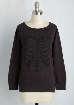My Skeletal Romance Sweatshirt - Black, Casual, Skulls, Long Sleeve, Knit, Best, Scoop, Mid-length, Novelty Print, Summer
