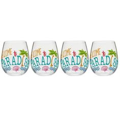 """a835182e8c1 """"Welcome to Paradise"""" Stemless Wine Glasses, Set of 4 - Christmas Tree  Shops and That! - Home Decor, Furniture & Gifts Store"""