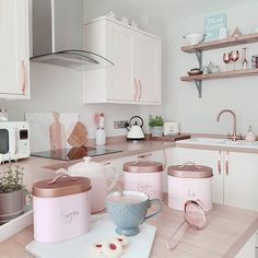 6 Whole Hacks: Kitchen Storage Wall Paper Towels kitchen storage cabinets ana white.Kitchen Storage Ikea Cupboards tiny kitchen storage under sink. Home Decor Kitchen, Kitchen Interior, Home Kitchens, Kitchen Design, Rose Gold Kitchen, Pastel Kitchen, Pink And Grey Kitchen, Pink Kitchen Walls, Copper Kitchen Accessories
