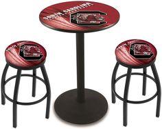 South Carolina Gamecocks D2 Black Pub Table Set.  Available in two table widths. Visit SportsFansPlus.com for Details.