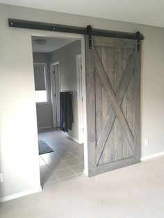 HIS & HER HOME big X weathered grey sliding ensuite barn door