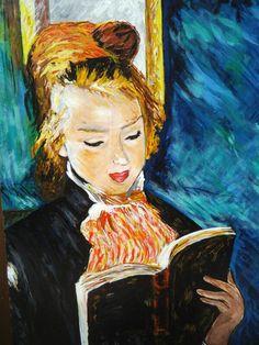 La liseuse - A. Renoir - 1874. Reproduction à l'acrylique sur panneau en bois, vernie, vendue sans cadre. Travail artisanal soigné par copiste. Velours adhésif au verso du tableau. Dimensions : 29 x39 cm. Épaisseur : 5 mm. A vendre. Prix : 60 €.