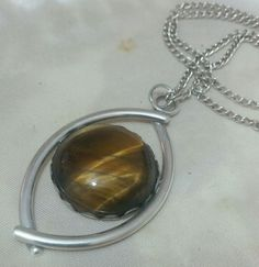 VINTAGE 925 STERLING SILVER LARGE PENDANT WITH TIGERS EYE GEMSTONE & CHAIN,HEAVY in Jewellery & Watches, Fine Jewellery, Fine Necklaces & Pendants | eBay
