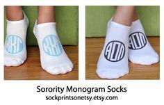 Sorority monogram socks!  3 lucky winners will receive a set of 3 custom printed sorority monogram socks from sockprints!