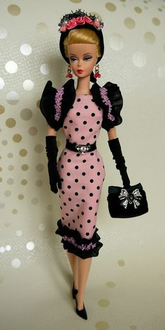 Barbie doll in polka dots Barbie Skipper, Barbie Dress, Barbie Outfits, Pink Dress, Vintage Barbie Clothes, Doll Clothes, Barbies Pics, Pink Doll, Beautiful Barbie Dolls