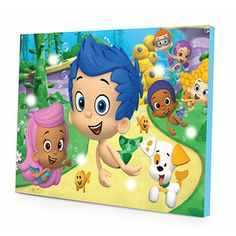 Nickelodeon Bubble Guppies LED Lightup Bedroom Wall Decor Canvas 11 5 X 15  75