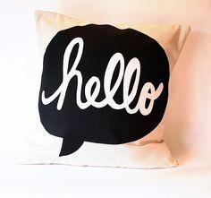 """Pillow Cover """"hello"""""""