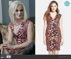 Liv's red and navy printed v-neck dress on iZombie.  Outfit Details: http://wornontv.net/53082/ #iZombie