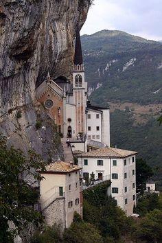 Santuario Madonna della Corona - Spiazzi (Verona Italy) x via Classy Bro Places Around The World, Oh The Places You'll Go, Places To Travel, Places To Visit, Around The Worlds, Dream Vacations, Vacation Spots, Beautiful World, Beautiful Places