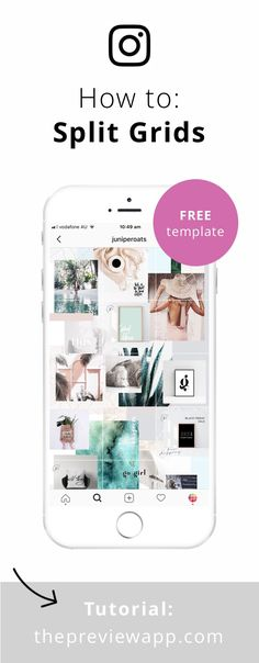 Download the FREE template to split your photos into grids. #instagram #instagramtips #feedgoals #instagrammarketing #instagramtheme #instagramfeed #instagramfeedideas #bossbabe #socialmedia #socialmediatips #previewapp