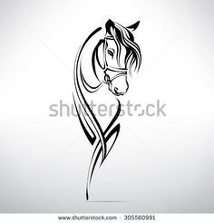 Silhouette of the head of a horse - stock vector