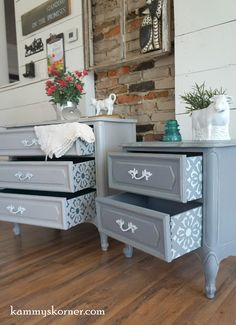 Kammy's Korner: Delightful Details! Gray, white, and blue French Provincial Nightstands With Stenciled Drawers, white handles, sealed in polycrylic