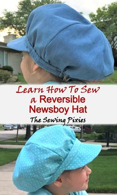 How To Sew A Reversible Newsboy Hat - Agnes Creates. Learn how to sew a newsboy hat for the summer days! Get this newsboy cap sewing pattern and make a beautiful reversible newsboy hat! Sewing Projects For Kids, Sewing For Kids, Baby Sewing, Hat Patterns To Sew, Pdf Sewing Patterns, Diy Hat, News Boy Hat, Beanie Pattern, Kids Hats