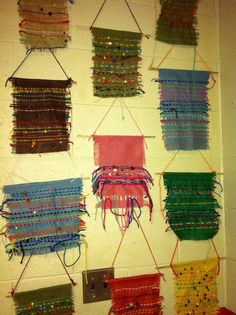Burlap weaving by third grade