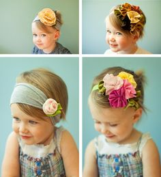 easy flower headbands! need to make these for Lilly
