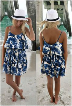 Kauai Cream And Blue Floral Print Sundress
