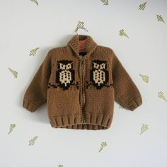 vintage 70s children's sweater / owls on branches / by foxandrook, $48.00