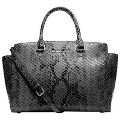 Pre-owned Michael Kors Large 'selma' Dark Slate Python Gray Satchel ($320) ❤ liked on Polyvore featuring bags, handbags, grey, satchel handbags, leather satchel purse, grey handbags, grey purse and genuine leather purse